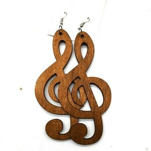 Music note Gnote wooden dangle Earrings